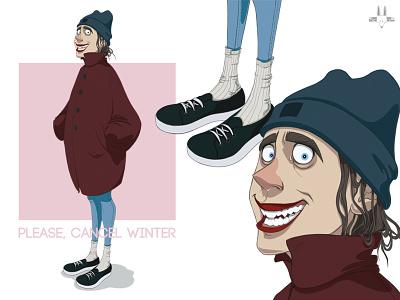 Please, cancel winter. pink digitalart art print girl sneakers rikoandthehuman winter cold