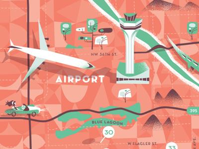 Airport/Map map airport airplane illustration car miami beach florida