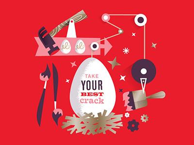 Egg Coloring Contest easter egg illustration goldberg rube goldberg brush texture