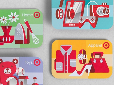 Target Gift Cards toys ipad gaming controller camera teddy bear illustration gift card target