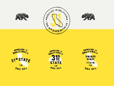 31's State typography wine label seals bear california