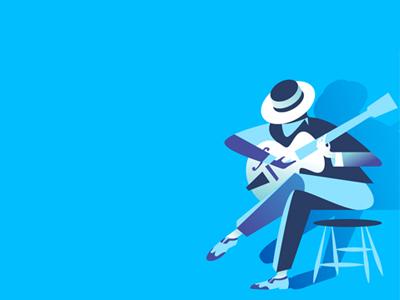 Blues shadows vector illustration guitarist hat guitar music blues
