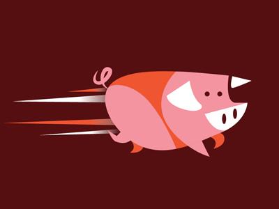 Little Pig running speed monotone vector illo illustration pig
