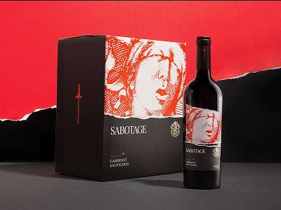 Sabotage Wine lady of justice print foil label wine packaging