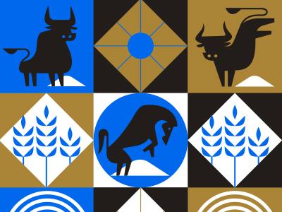 Wild Animals vector wheat illustrator illustration horse bull