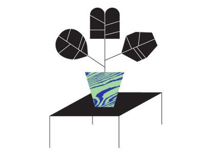 Geometric Plant Illo illustration. table planter plant geometric