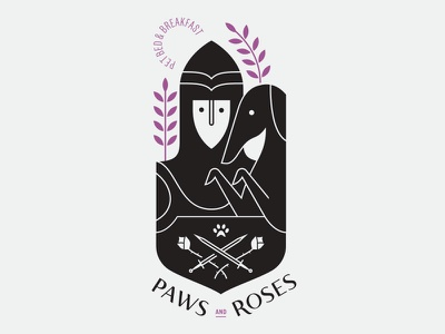 Paws and Roses identity branding soldier medieval dog paw pet illustration logo