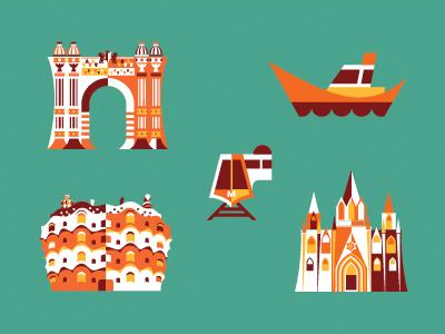 Small Items map ship subway metro barcelona cathedral gaudi arc