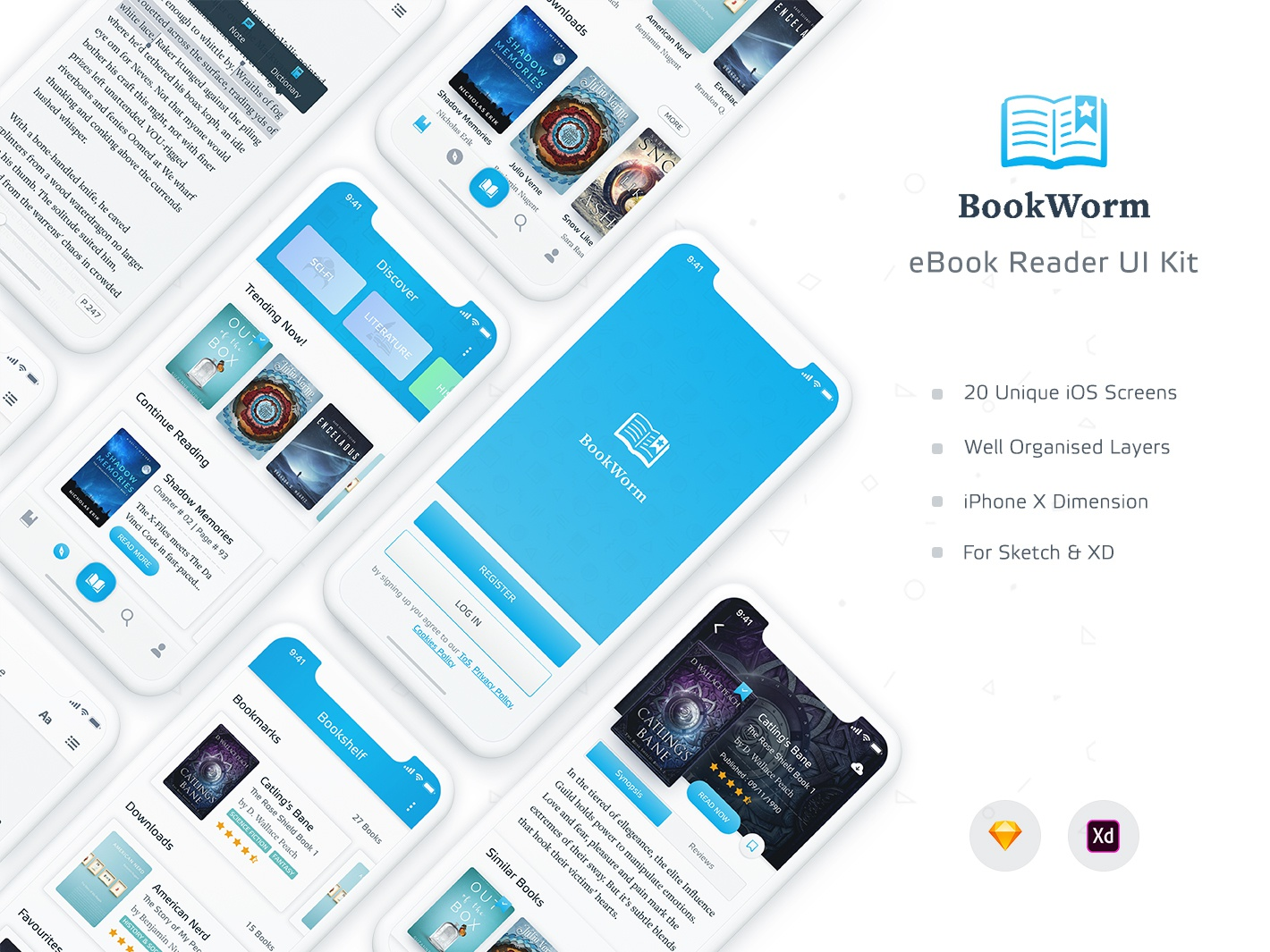 BookWorm eBook Reader UI Kit by Mousecrafted on Dribbble