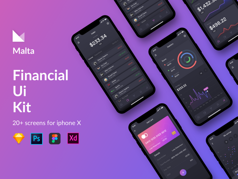 Malta Financial IOS app UI Kit website bootstrap adobexd free kit photoshop adobe sketch mousecrafted app ux ui typography icons font template branding resource design
