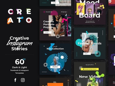 Creato Social Media Templates instagram story social kit illustration icon photoshop logo adobe sketch mousecrafted vector ux icons ui typography font template branding resource design