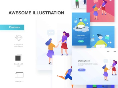Awesome Illustrations. website icon animation web kit illustration app photoshop adobe sketch mousecrafted vector ux ui typography template branding resource design