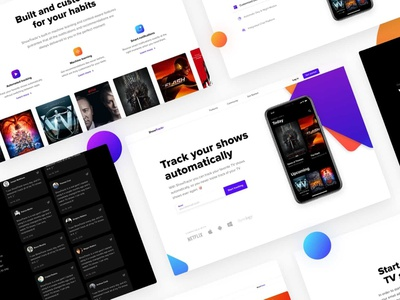 ShowTrackr: Free landing template for Sketch free website icon kit illustration icons photoshop font app vector adobe sketch mousecrafted ux ui typography template branding resource design
