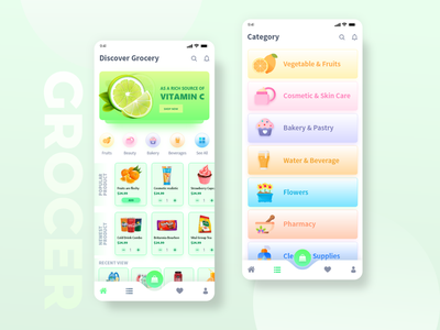 Grocery app illustration adobe xd photoshop ui food app uiuxdesign app layout grocery list grocery app app design