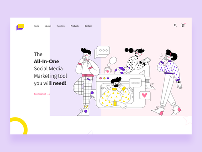 SMM Rock landing page concept. drawing icons dubai jobs graphics dubai vacancies creative direction dubai designer creative design dubai creative colorful flat web illustration ux ui design clean