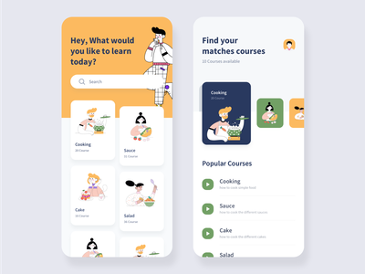 Cooking learning app concept. graphics app design direction creative mobile app design mobile design mobile app mobile ui mobile app startup corporate colorful flat web illustration ux ui design clean