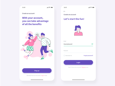 Create account app design concept. mobile ui design mobile uiux mobile ui creative logo creative direction creative design creative visual design vector art vector sketch corporate colorful flat web illustration ux ui design clean