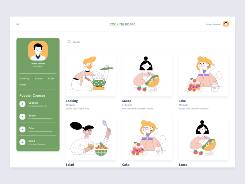 Cooking board dashboard concept. font fashion direction web design webdesign cooking food freebie cook free sketch corporate colorful flat web illustration ux ui design clean