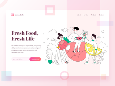 Landing Page for Fresh Food Website monster people illustration gradient design people homepage design homepage gradient color gradients gradient branding vector sketch colorful flat web illustration ux ui design clean