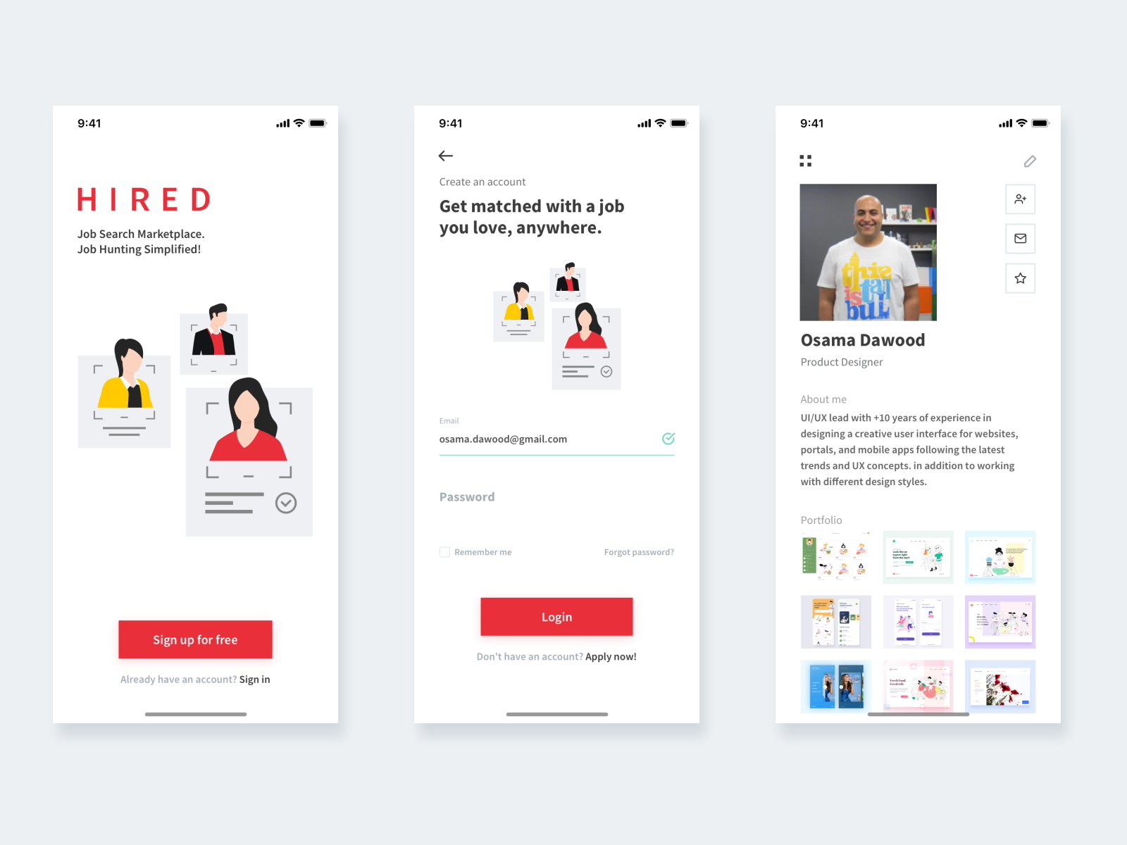 Hired Mobile App Design By Osama Dawood On Dribbble