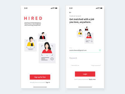 Hired mobile app design dubai vector illustration app visual design vector mobile uiux mobile ui design home hand drawn startup corporate colorful web flat illustration ui ux design clean