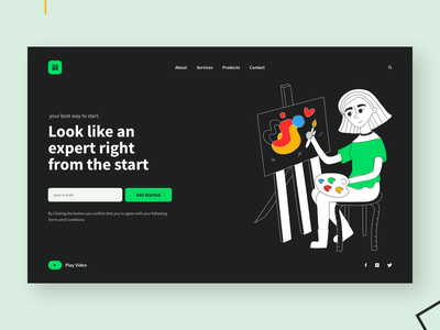 UPII landing page concept (Dark Theme) girl flat dailyui concept color brush black art abstract character dark vector ux user interface uiux uidesign ui design ui sketch adobe illustrator