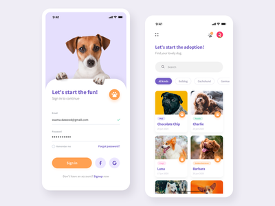 DogFinder Mobile App firstshot color colorful food application ios app design app dog vector branding illustration sketch flat ux design ui clean