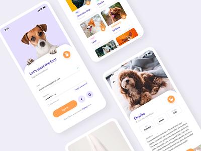 DogFinder Mobile App firstshot color colorful food application ios app design app dog vector branding illustration sketch flat ux design ui clean