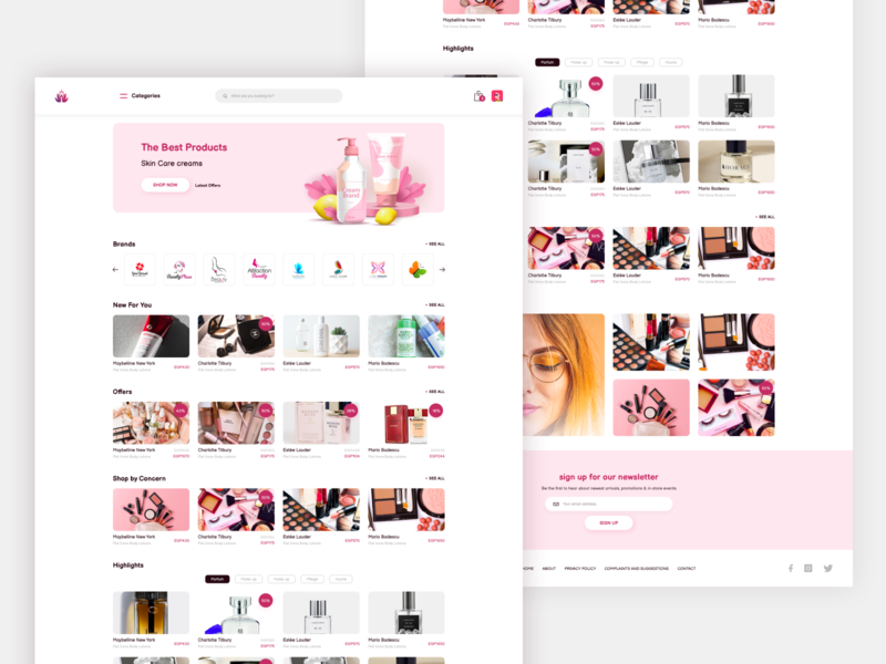 eCommerce website design wordpress pink beauty makeup shopping shop webdesign web design website logo branding colorful web illustration flat ux design ui clean