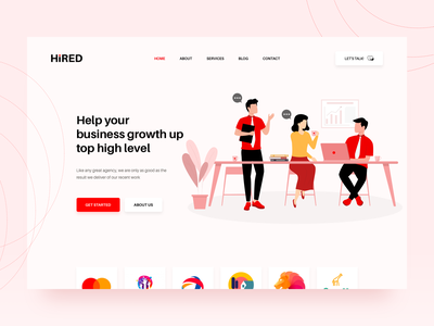 Hired HR website redesign logos creative drawing graphics hire red responsive design redesign resume responsive sketch corporate colorful web illustration flat ux ui design clean