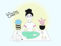 Keep calm and enjoy 🙏 yellow blue girl woman yoga app yoga illustration art illustraion branding vector flat web colorful illustration design ui clean calmness calming calm