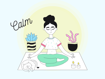 Keep calm and enjoy 🙏 yellow blue girl woman yoga app yoga illustration art illustraion branding vector flat web colorful illustration design ui clean calmness calming calm