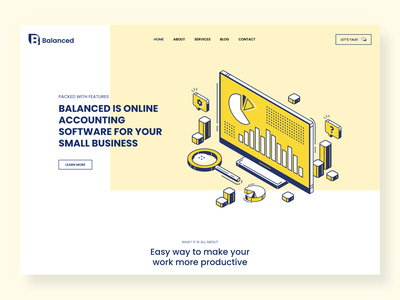 Balanced Website Design accountant yellow colorful logo startup web ux illustration flat design ui clean