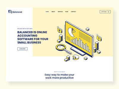 Balanced Website Design accountant yellow colorful logo startup web ux illustration flat design ui clean