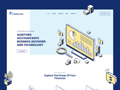 Balanced Accounting Co. 🌍  Website 3d vector ui clean design flat illustration ux web startup logo colorful branding yellow accountant