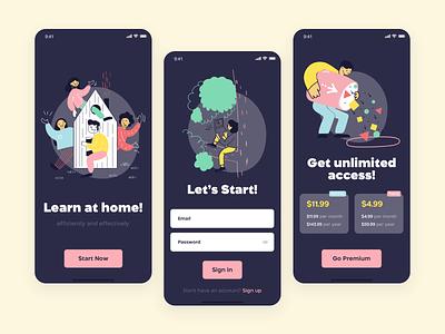 Designra - Mobile App For Design Courses (Dark Theme) startup firstshot first color application app design app graphic design course dark vector branding logo web illustration ux flat design ui clean