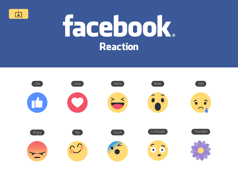 Download Freebie New Facebook like button Empathetic Emoji Reactions