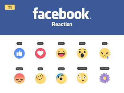 Freebie New Facebook like button Empathetic Emoji Reactions