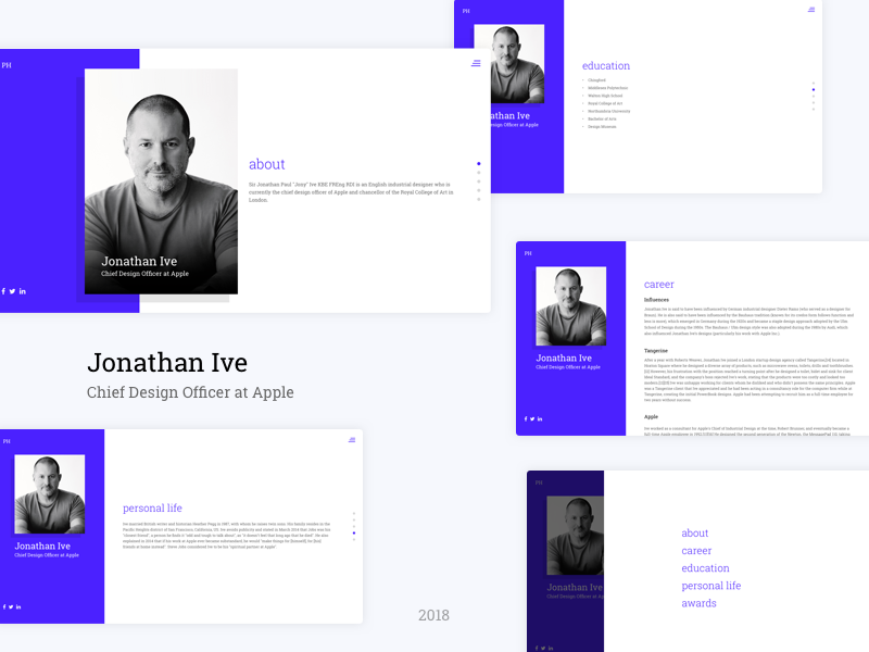 Jonathan Ive Bio web ux ui startup sketch responsive illustration flat design corporate colorful clean