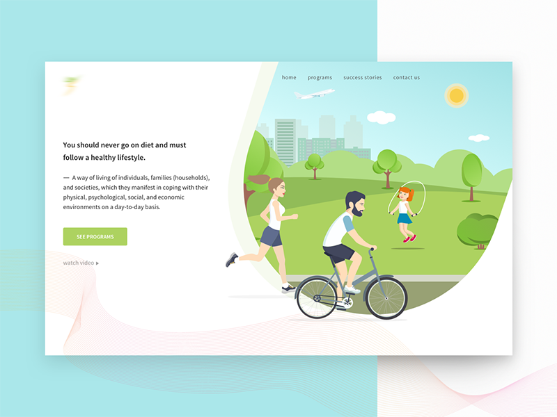 Lifestyle Website web ux ui startup sketch responsive illustration flat design corporate colorful clean