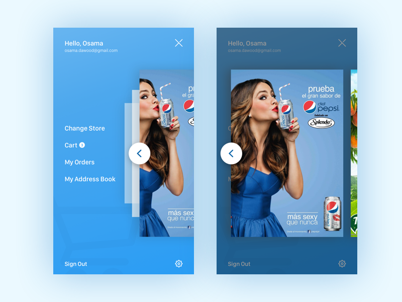 Menu Screen With Ads -  E-commerce App web light illustration freebie free flat first shot dropbox download design clean ai