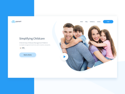 Parent ApS Landing Page Redesign first shot typography logo icon sketch responsive ai startup corporate colorful flat ux web ui design clean