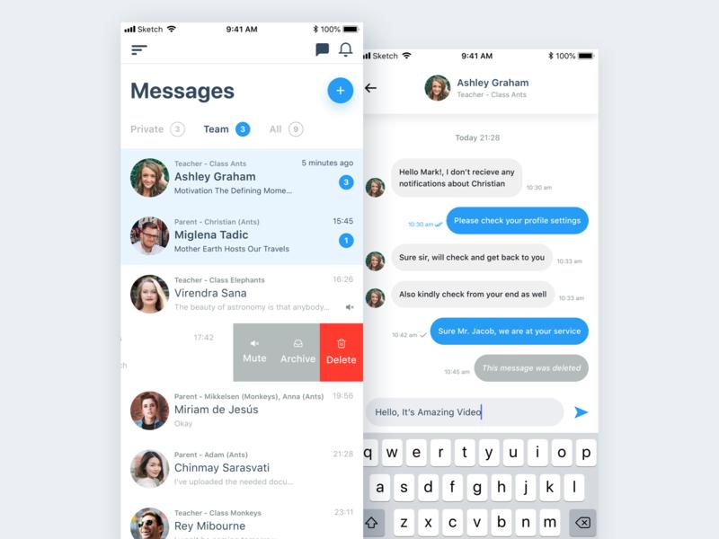 Messages App UI Design clean app design clean  creative app messages app concept design ui ux clean app profile photo modern messenger messages app animation light inbox clean app