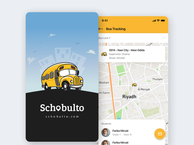 🚌 Schobulto - Mobile App Design android apple application ios app design school corporate colorful logo flat illustration web ui ux design clean