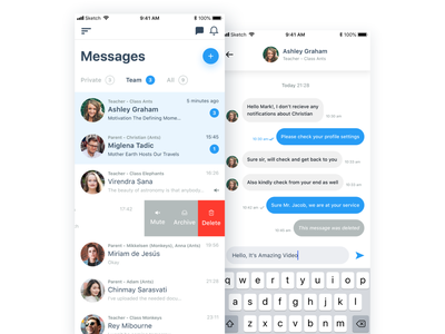 Messages Parent App sketch corporate colorful flat ui web illustration ux design clean