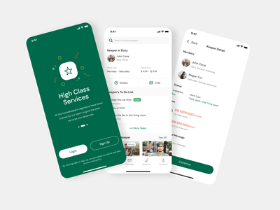 Housekeeper Reservation App onboarding homepage home price green graphics login icon modern cleaner mobile userinterface