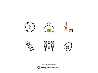 Japan Icon Design illustration japan food food icondesign icon stick sake naruto dango chopstick egg onigiri japanese japan