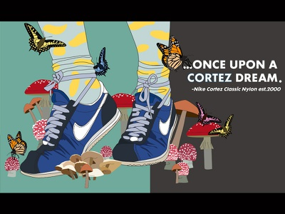 Once Upon A Cortez Dream. polka dots butterflies mushrooms cortez nike sneakers illustration
