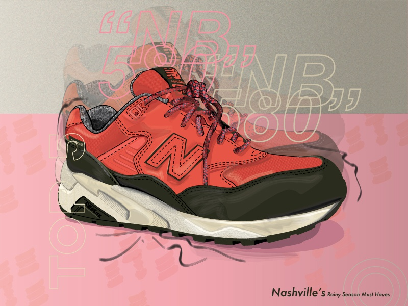 NB 580 Wax Pack pattern brush shaded sneakerhead new balance women in illustration vector sneakers design colors illustration