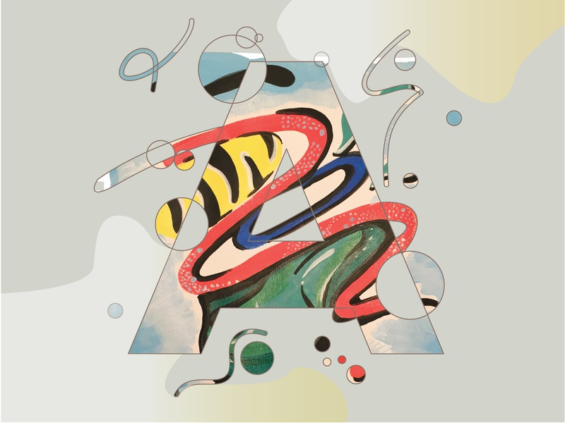 Letter A vector lettering 36 days of type lettering 36 days of type typography shapes colors concept design acrylic painting illustration